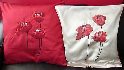 Poppies Cushion Covers In  Red, Black & Cream 18  & 22 , Lovely Piped Edge • 4.87£