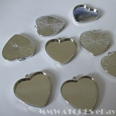 NEW HEART ANTIQUE SILVER  CAMEO CABOCHON PENDANT SETTING TRAY 25mm X 23mm C19 • 1.99£