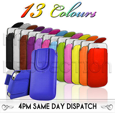 £2.99 • Buy Magnet Button Premium PU Leather Pull Tab Pouch Case 4 Various LG Mobile Phones