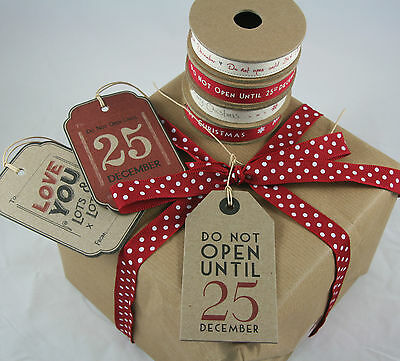 £3.59 • Buy East Of India Vintage Christmas Gift Tags Ribbon Do Not Open Until 25th December