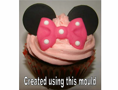 Silicone Mould Vintage Fan Minnie Mouse Bow Icing Cupcake Cake Fimo Card Topper  • 6.49£