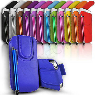 $4.10 • Buy Magnet Leather Pull Tab Case Cover Pouch And Stylus Pen Fits Various Lg Mobiles