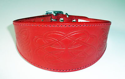 £18.95 • Buy Red Leather Celtic Design Whippet Collar Greyhound Lurcher Dog Collar Lévriers