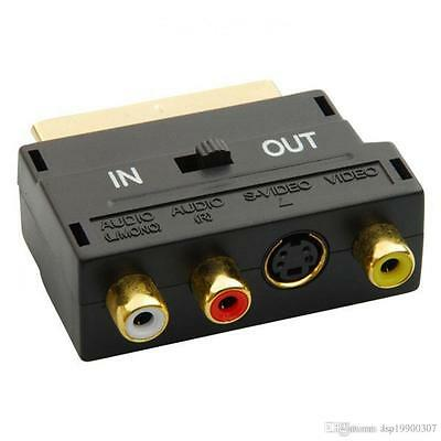 SCART Adaptor AV Block To 3 Phono Composite Or S-Video With In/Out Switch GOLD • 2.21£