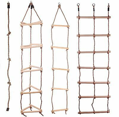 £13.99 • Buy Kids Wooden Rope Ladder Climbing Rope For Timber Climbing Frame Selection!