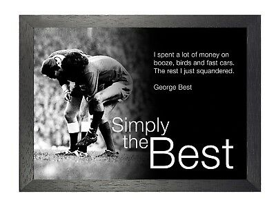 George Best Injured - I Spent - Simply Football Soccer Retro B&W Picture Poster • 19.99£