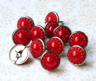 $1.99 • Buy 14mm VINTAGE PEARL Brads - RED Scrapbook CardMaking Craft 10pc