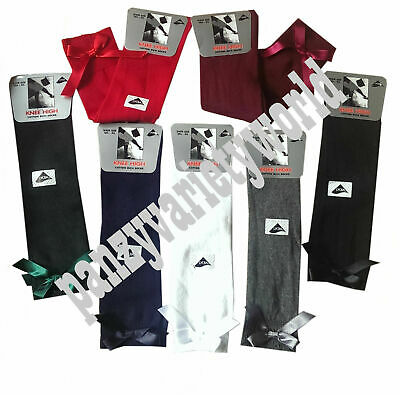 Girls Knee High School Fashion Socks With Satin Bow Size 9-12 /12.5-3.5 /4-6.5 • 2.70£