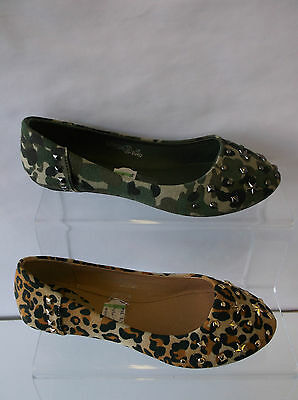 £5.99 • Buy Girls Spot On Camouflage Or Leopard Print Dolly Shoes UK 10-2 : H2274