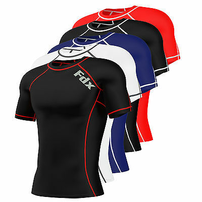 FDX Mens Compression Armour Base Layer Top Half Sleeve Thermal Gym Sports Shirt • 10.50£
