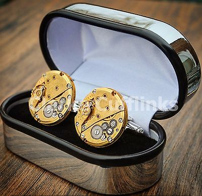 Boxed Watch Movement Cufflinks Steampunk Wedding Groom Mens Gift Present Gold • 15.99£