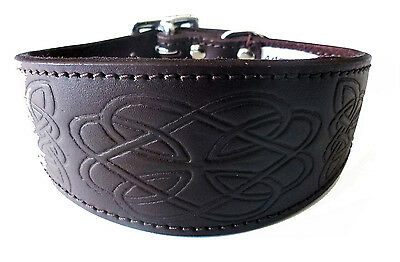 £19.95 • Buy Brown Leather Celtic Design Whippet Greyhound Collar Dog Collar Levrier Collier