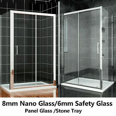 £96.99 • Buy Sliding Door Shower Enclosure Side Panel And Tray 6mm / 8mm Glass Screen Cubicle