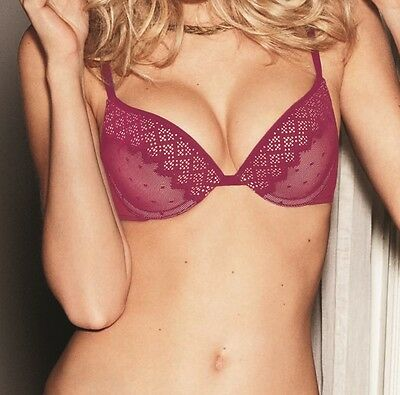 Wonderbra W002S Lingerie Pixel Lace Gel Plunge Bra In Persian Red • 22£