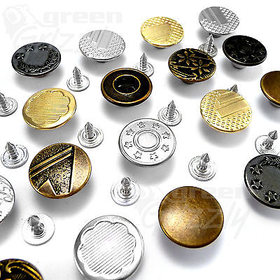 17mm Hammer On Denim Jeans Buttons Brass Based With Tack Alloy Studs AH2 • 0.99£