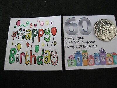 £2.80 • Buy  60th Birthday Lucky 1961 Birth Year Sixpence For Birthday Card Or Gift Keepsake