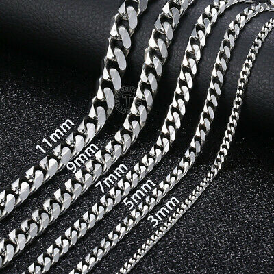$7.03 • Buy 18 -36  Stainless Steel Silver Tone Chain Cuban Curb Mens Necklace 3/5/7/9/11mm