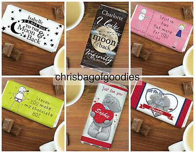 PERSONALISED Romantic I Love You ROMANCE CHOCOLATE BAR Gifts For Him Her Present • 6.99£