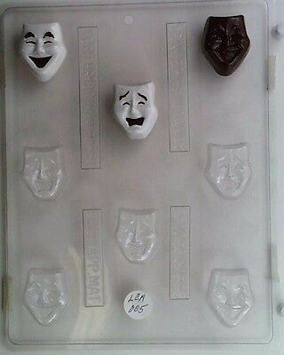 £2.54 • Buy Comedy Tragedy Masks Bite Size Drama Clear Plastic Chocolate Candy Mold Lca005