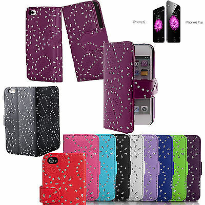 £3.29 • Buy RHINESTON  Diamonte Leather Wallet Flip Case Cover For Apple IPhone 4 5 6 6+