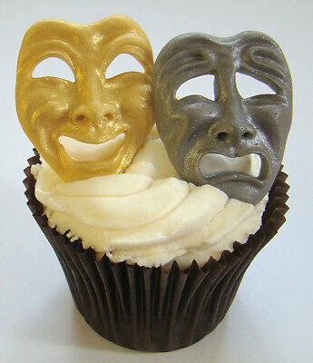 Silicone Mould Theater Comedy Tragedy Masks Cupcake Fimo Icing Clay Card Topper • 6.49£
