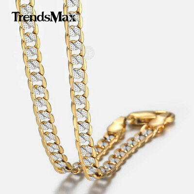 $7.99 • Buy 4mm Thin Hammer Curb Cuban Link Silver Gold Filled Chain Necklace Men Women