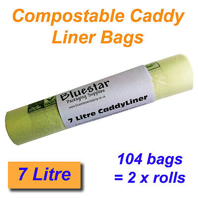 £7.49 • Buy 104 X 7 Litre Compostable Food Waste Caddy Liner Bags Biodegradeable