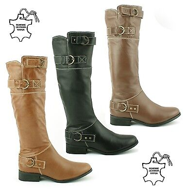 Ladies Womens Real Leather Knee High Flat Heel Riding Casual Boots Shoes Size • 39.99£