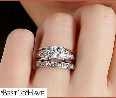 925 Sterling Silver Luxury Princess Cut Wedding Engagement Bridal Ring Set  • 44.99£
