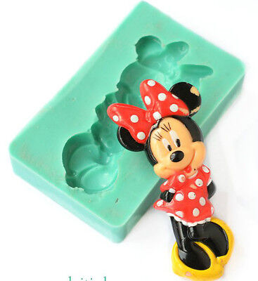 Silicone Mould Minnie Mouse Bow Figure Birthday Baby Cupcake Icing Cake Toppers • 6.49£