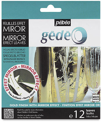Pebeo Gedeo Gilding Foil Leaves Mirror Finish 12 Colour Sheets In GOLD • 6.65£