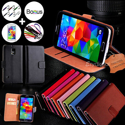 AU9.99 • Buy For Samsung Galaxy S5 & S5 Mini Genuine Real Leather Wallet Case