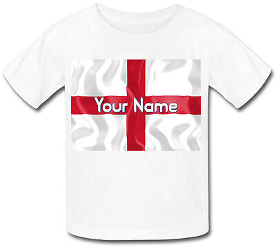 £9.99 • Buy England St George's Flag Personalised Kids T-shirt - Named Gift For A Child