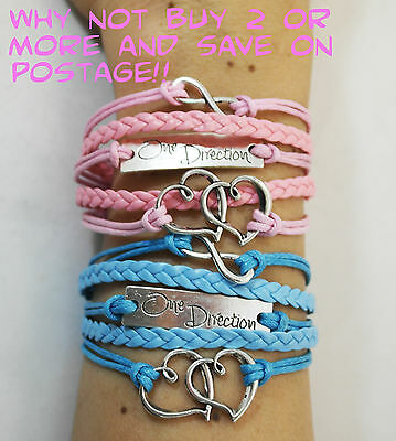 One Direction Silver & Bronze Infinity & Love Braided Leather Wristband Bracelet • 0.99£