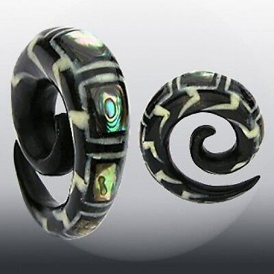 $19.95 • Buy PAIR Organic Abalone Inlay Horn Spiral Tapers Plugs Gauges 2g, 0g, 00g