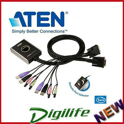 AU119 • Buy Aten CS-682 Petite 2 Port USB DVI KVM Switch With Audio, Remote Button, Cables