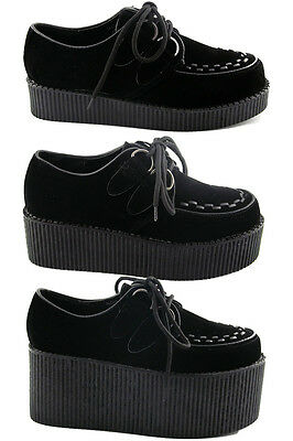£24.99 • Buy Womens Black Platform Lace Up Ladies Flats Creepers Punk Goth Shoes Size 3-8