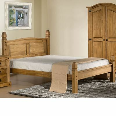 £199.99 • Buy Wooden Low Foot End Bed, Corona Solid Pine Bed With 4 Size 4 Mattress Options