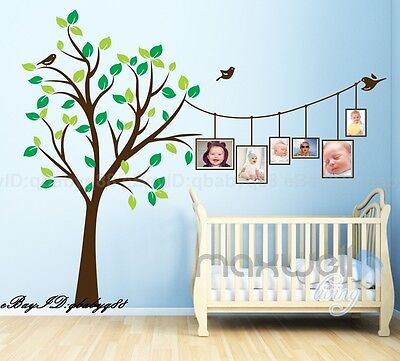 Huge Baby Cot Side Photo Frame Bird Tree Wall Decals Stickers Kids Family Decor • 28.40£