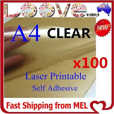 AU32.99 • Buy 100 X A4 Clear Transparent Glossy Self Adhesive Sticker Paper Label Laser Print