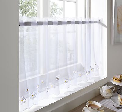 £6.39 • Buy Embroidered Voile Daisy  Cafe Curtain Panel, 2 Drops, 59  Wide