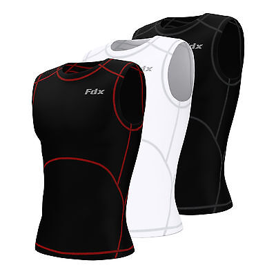 FDX Mens Compression Armour Base Layer Tops Running Sleeveless Sports Shirt • 9.99£