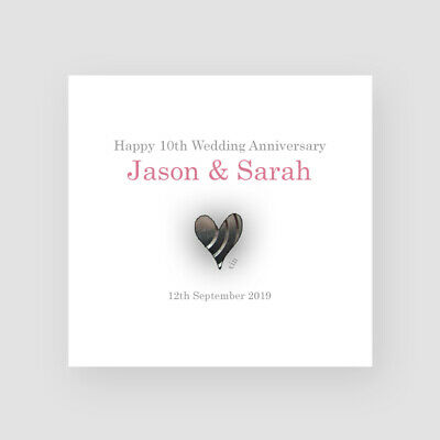 Personalised Handmade 10th Wedding Anniversary Card - For Them, Tin Heart • 3.45£