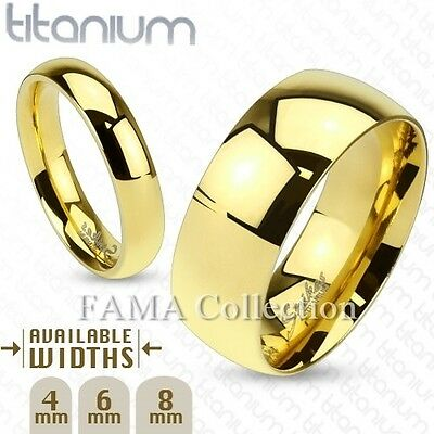 FAMA Solid Titanium Gold IP Classic Wedding Band Ring Select Size • 10.68£