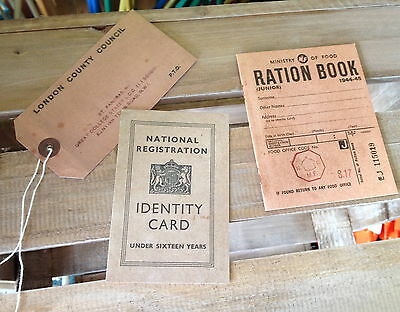3 Pack Repro Ration Book Evacuee Tag & ID Card Authentic-style WW2 Home Front • 3.99£