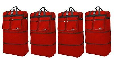 """View Details 4-Pack 40"""" Red  Expandable Rolling Wheeled Duffle Bag Spinner Suitcase Luggage  • 79.85$"""