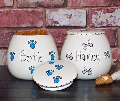 Small Personalised Ceramic Dog Treat Jar Rabbit Jar Hand Painted Cat Canister • 16.99£