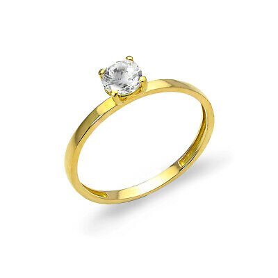 9ct Gold & 5mm CZ Crystal Engagement Band Stacking Ring / Size I - O / Rings • 77£