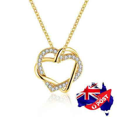 AU9.99 • Buy New 18K Gold Filled Women's Love Heart Pendant Necklace With Swarovski Crystal