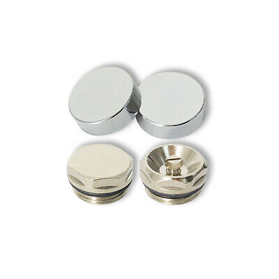 Two Chrome Cover Cap For Towel Rail Radiator Blanking Plug And Air Vent Valve • 4.50£